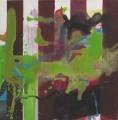 Spurensuche Trier  III / 2 Bach  - Mischtechnik auf Holz 30 x 30 - 2002
