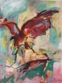 Roter Vogel vor ockerfarbenem Akt  - Acryl auf Leinwand 108 x 80 - 2004