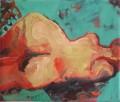 Liegend vor Türkis  - Acryl auf Leinwand 36 x 44 - 2004