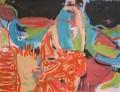 Der orange Teppich  - Acryl auf Papier 47 x 60 - 2004