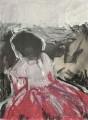 Das rote Kleid (Übermalung) - Acryl / Ölfarbe auf Papier 25 x 18 - 2004