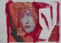 Schüchterner Hase I  -  Mischtechnik auf Illustrierter und Collage 42 x 60 - 2005