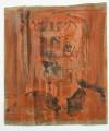 """V/2 aus dem Zyklus: """"Die Kinder von Auschwitz"""" Tusche / Asche / Leim auf Pappe, 40 x 34, 2006"""