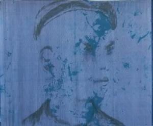 """II/6 aus dem Zyklus: """"Die Kinder von Auschwitz"""" Tinte auf dunkelblauem Streifenstoff, 128 x 154, 2006"""