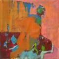 Figuren auf Podest 2008  Acryl auf Leinwand, 69 x 70 cm
