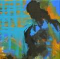 Figur vor blauem Gitter 2008  Acryl auf Leinwand, 60 x 60 cm