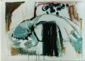 ... mit Stele  - 2001 - Mischtechnik auf Pappe 100 x 70