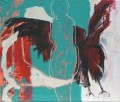 Frau mit Vogel  - Acryl und Kreide auf Leinwand  99 x 117 - 2002