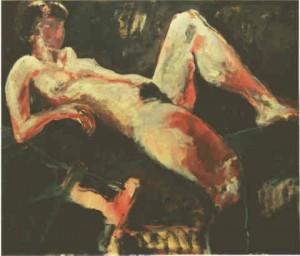 Akt mit angewinkeltem Bein  - 1997 - Acryl auf Leinwand 96 x 83