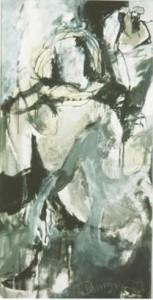 Rückenakt mit Schal  - 1998 - Mischtechnik auf Leinwand 154 x 77