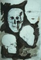 Schädel  - 1996 - Tusche und Bleistift auf Pappe 70 x 100
